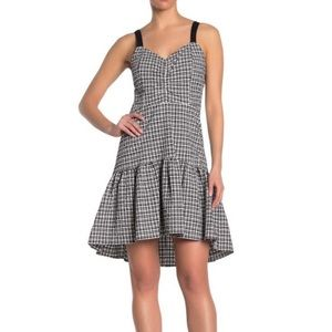 PARKER $368 Gingham Ruffle High Low Dress Designer